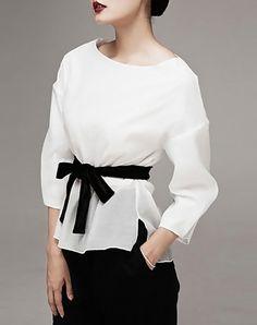 Charming White Plain Asymmetric  Blouse with Belt