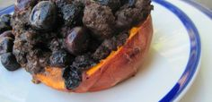 Blueberry Breakfast Stuffed Sweet Potatoes  Ingredients  2 sweet potatoes or yam, cut in half lengthwise  1 cup fresh blueberries  1lb Bison Breakfast Sausage  1 egg, whisked  salt and pepper, to taste