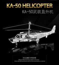3D Puzzle KA-50 HELICOPTER Model Toys Metal Assembly DIY Military Equipment Creative Gifts Classic Collection No glue #Affiliate