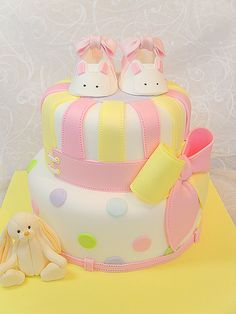 Christening cake with bunny bootie