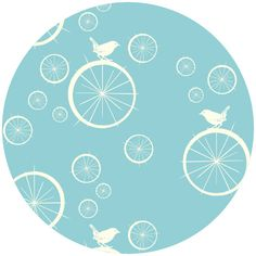 Jay-Cyn Designs for Birch Fabrics, Mod Basics, Organic, Birdie Spokes Pool - This one makes me think of dandelion bubbles floating around