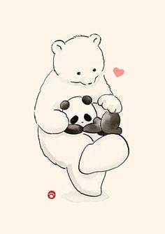 ' by Panda And Polar Bear We Bare Bears Wallpapers, Panda Wallpapers, Cute Wallpapers, Polar Bear Cartoon, Cute Panda Cartoon, Panda Hug, Panda Love, Baby Panda Bears, Cute Panda Wallpaper