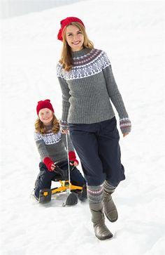 1111: Modell 16 Genser barn og voksen, pulsvarmere, leggvarmere, lue barn og dame, knestrømper dame #strikk #fjells #sisu
