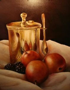 Still life, oil on panel.  Painted by Anne-Fieke Later