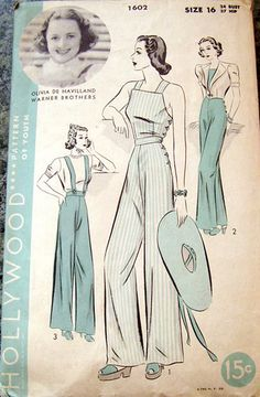 1602 A great vintage Hollywood sewing pattern for overalls (dungarees).A great vintage Hollywood sewing pattern for overalls (dungarees). Vintage Outfits, Vintage Dresses, Vintage Clothing, Vintage Dress Patterns, Clothing Patterns, Vintage Hollywood, Retro Fashion, Vintage Fashion, 1930s Fashion