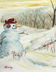 Snowman Scene Painting by Sheila Kinsey