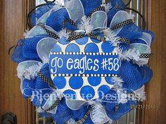 Blue & White School Spirit Mesh Wreath Custom Order by lesleepesak, $70.00