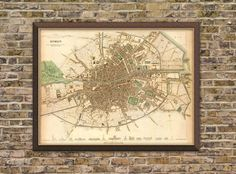Dublin map Old map of Dublin print Fine by AncientShades