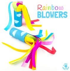 CARDBOARD TUBE RAINBOW BLOWERS are a colourful and fun kids craft! Kids love blowing this rainbow craft to see the streamers swoosh. A super TP roll St Patrick's Day craft or for a weather topic too. Great as a Spring craft or Summer craft too. St Patrick's Day Crafts, Summer Crafts For Kids, Fun Crafts For Kids, Summer Kids, Spring Crafts, Toddler Crafts, Diy For Kids, Craft Kids, Toddler Games