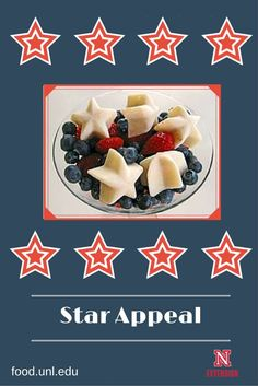 Refreshing, 4th of July food made with blueberries, raspberries and yogurt stars. Serve as a salad or a light dessert.