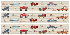 Une frise pour décorer la chambre de votre garçon avec, pour qu'il apprenne l'alphabet en s'amusant, les marques de voitures les plus prestigieuses.