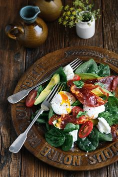 Morning, Noon or Night Salad by fromthekitchen #Salad #Prosciutto #Eggs #Tomatoes #Avocado #Basil #Healthy