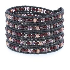 Garnet Mix Crystal Wrap Bracelet on Gunmetal Leather - Chan Luu