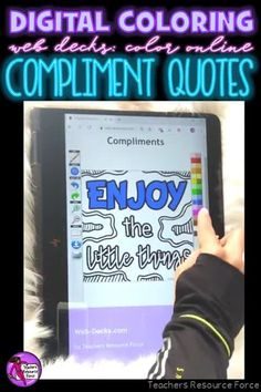 Are you looking for something inspirational that will support your students with their mental well-being that can be completed online with no resources required whatsoever? Then look no further than these brand new style of Online Digital Colouring Page Decks: Compliment Notes #digitalcoloring #compliments #kindness #kindnessnotes #onlinecoloring #mindfulness #sel Teaching Character, Character Education, Character Development, Teacher Resources, Teaching Ideas, Kindness Notes, Compliment Quotes, Mindfulness Colouring, Quote Coloring Pages