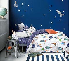 Cliab Space Adventure Bedding Set Planets Bedding Full Size Duvet Cover Set 100% Cotton 5 Pieces