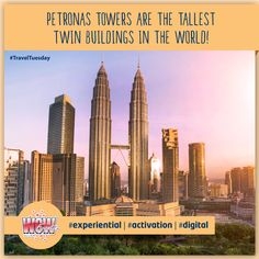 #PetronasTwinTowers are 452m high with 88 floors and 32000 windows. The two towers along with the bridge aim to resemble 'M' of Malaysia. #Discover what makes the Twin Towers special through cutting-edge displays and vibrant exhibit! #WOWEvents #Malaysia #Kualalumpur #TravelFacts #TravelTuesday