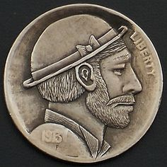 Ralph Perrico Hobo Nickel, Coin Art, Art Forms, Sculpture Art, Buffalo, Classic Style, Coins, Miniatures, Carving