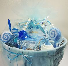 L@@K - Baby Shower Party LOADED Blue Gift Basket - For Boys - 35 items included! #babybump #LouisAppreciationDay #crafty #craftysellers #baby #ebay #etsy #Buyers