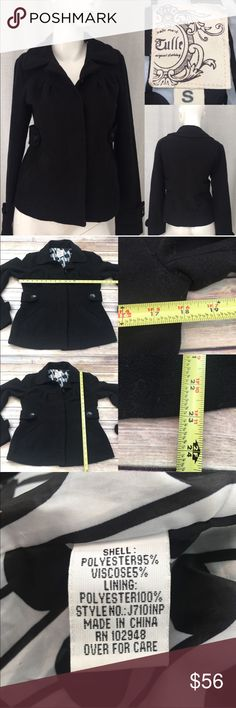 🌴Sz Small Tulle Pleated Front Scoop Neck Pea Coat Measurements are in photos. Normal wash wear, has some pilling on sleeve cuffs, no flaws. F1/35  ** could use another dry cleaning, has lint from storage. This was purchased at Nordstrom's.   I do not comment to my buyers after purchases, due to their privacy. If you would like any reassurance after your purchase that I did receive your order, please feel free to comment on the listing and I will promptly respond.   I ship everyday and I…