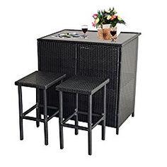 Mcombo 3PCS Black Wicker Bar Set Patio Outdoor Table & 2 Stools Furniture Steel 6085-1200
