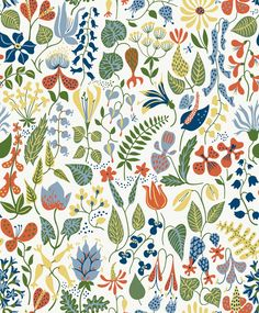 Add bright floral pattern to your interior with this Herbarium wallpaper from BorasTapeter. Part of the Wallpapers by Scandinavian designers collection, this design is by Stig Lindberg and is sure . Wallpaper Samples, Wallpaper Roll, Wall Wallpaper, Pattern Wallpaper, Amazing Wallpaper, Cheap Wallpaper, Wallpaper Wallpapers, Wallpaper Ideas, Scandinavian Wallpaper
