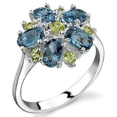 Peridot and London Blue Topaz Flower Ring Sterling Silver 3.25 Carats available joyfulcrown.com
