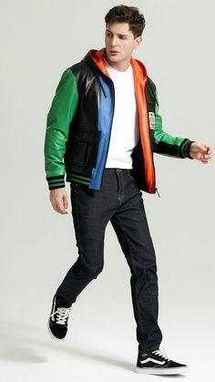 Coloured Leather Jacket, Leather Jacket With Hood, Brown Jacket, Hooded Jacket, Bomber Jacket, Designer Leather Jackets, Bakery Logo Design, Aviator Jackets, Daily Dress