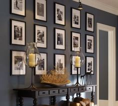 You could also create a more symmetrical gallery wall with family photos or some kind of art collection. Pottery Barn Symmetrical Gallery Wall 10 Tips for Creating a Collected Gallery Wall Wall Colors, Diy Design, Wall Design, Design Ideas, Sweet Home, House Design, House Styles, Home Decor, Picture Frames
