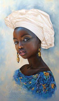African Girl 106 by Dora-Alis on DeviantArt Black Art Painting, Black Artwork, Black Love Art, Black Girl Art, African Children, African Girl, Jamaican Art, Illustration Inspiration, African Art Paintings