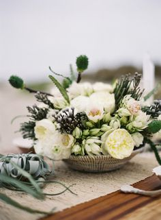 White and neutral flowers + succulents