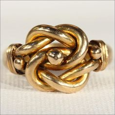 Antique Edwardian Mens Love Knot Ring in 18k Gold