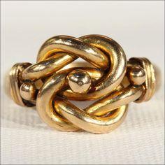 Antique Edwardian Mens Love Knot Ring in 18k Gold