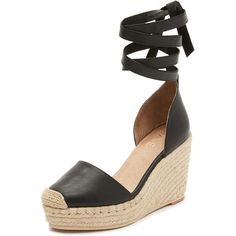 Raye Dhalia Wedge Espadrilles ($190) ❤ liked on Polyvore featuring shoes, sandals, black, wedge espadrilles, black wedge heel sandals, black leather sandals, espadrille wedge sandals and ankle wrap espadrille