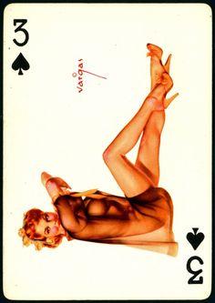 Alberto Vargas - Pin-up Playing Cards (1950) - 3 of Spades