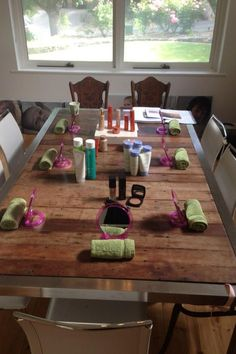 Getting set up for #arbonne #spa party.  Learn more at www.laylakelling.arbonne.com