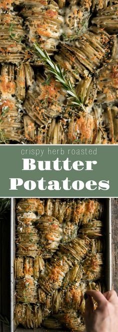 Crispy Herb and Butter Oven Roasted Potatoes Crispy Herb Roasted Butter Potatoes via via Butter Potatoes, Oven Roasted Potatoes, Cheesy Potatoes, Hasselback Potatoes, Potato Recipes, Chicken Recipes, Potato Dishes, Vegetable Recipes, Tapas