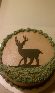 Deer cake, inside, the cake is green, yellow and brown to look like camo