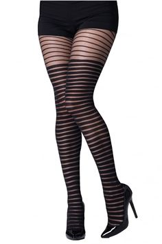 Gipsy Shadow Stripe Tights Colour: Black, Size: One Size Striped Stockings, Silk Stockings, Stockings And Suspenders, Polka Dot Tights, Striped Tights, Fashion Tights, Tights Outfit, Women's Fashion, Bustiers