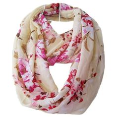 Chiffon Flower Infinity Scarf Floral Scarves Loop Hood Beige ($9.99) ❤ liked on Polyvore featuring accessories, scarves, round scarf, infinity scarf, chiffon shawl, floral shawl and tube scarf