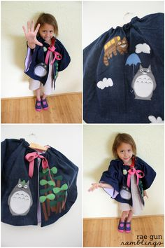 How cute for a little Totoro lover. A totoro cape. Tutorial can also be used to put totoro on anything like bags - Rae Gun Ramblings