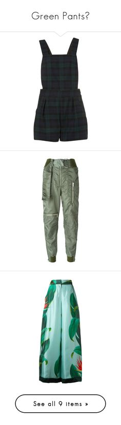 """""""Green Pants🍏"""" by izvistia ❤ liked on Polyvore featuring jumpsuits, rompers, dresses, playsuit, shorts, green, playsuit romper, green romper, green rompers and pants"""