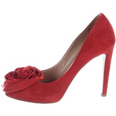 Pre-owned Valentino Rose-Accented Peep-Toe Pumps ($230) ❤ liked on Polyvore featuring shoes, pumps, red, peep-toe shoes, red suede shoes, red pumps, peeptoe shoes and peep toe shoes