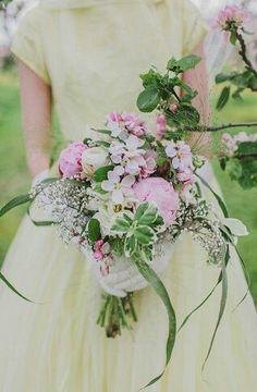 Hand Tied Wedding Bouquet Pink + White Florals & Greenery