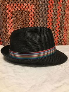 dd5bdd624d226c *New* Magid Hats Black Fedora / Trilby Hat with a Fabulous Rainbow Band  Accent