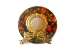 Vintage 60's flowered enamel wide brim hat by maggiescornerstore, $7.00