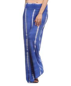 Frumos Royal Blue Tie-Dye Palazzo Pants - Plus Too | zulily