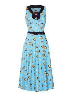 Alice Cat Print Dress Turquoise dress with cats motif Black neckand black belt