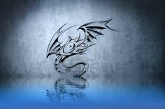 divertente il tatuaggio del drago blu riflessioni delle pareti in acqua Archivio Fotografico