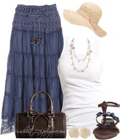 """Crochet Maxi Skirt"" by wishlist123 on Polyvore"