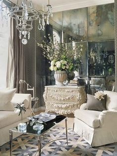 Mirrors.  The mirrors ties together the vintage, old style, classic, elegant look.
